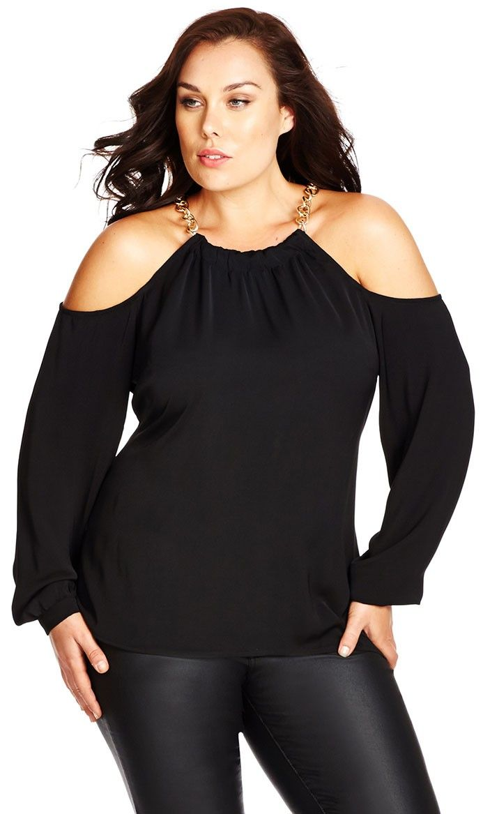 Plus Size Sexy Cold Shoulder Top - City Chic