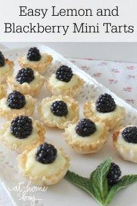 Easy Lemon Blackberry Mini Tarts - no bake and only 4 ingredients