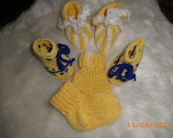 Für kleine Jungs und Mädchen,  Stiefelchen,Söckchen und Schühchen  in gelb Fußlänge 7cm,  10cm, Babywolle Polyacryl, 30 Grad waschbar