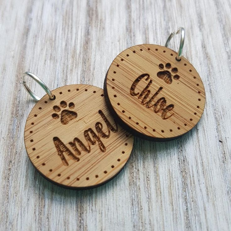Round Wooden Pet Tags