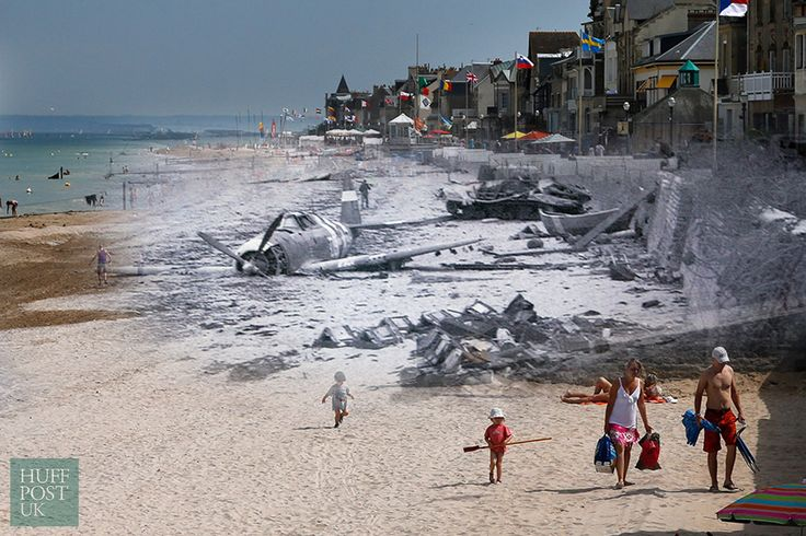 D-Day Landing Sites Then And Now: 11 Striking Images That Bring The Past And Present Together - The former Juno Beach D-Day landing zone, where Canadian forces once came ashore, in Saint-Aubin-sur-Mer, France. Once a scene of death and destruction, now a tourist's paradise.