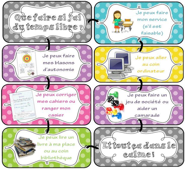 Outils pour la classe - Présentation du cahier et gestion du temps libre @ Cycle 3 ~ Orphéecole