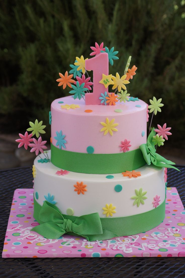 Cute Pink And White Spring Birthday Cake With Green Ribbons
