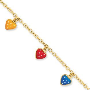 Children's Adjustable 14K Gold Colorful Heart Charm Bracelet Available Exclusively at Gemologica.com