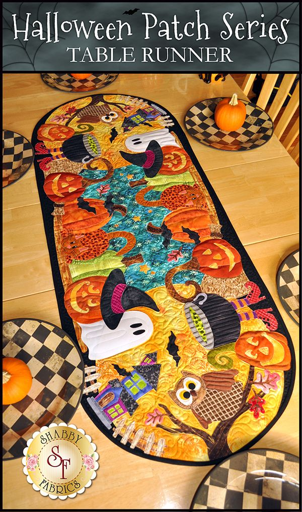 "Give your home a spooktacular touch this Halloween season with the Halloween Patch Series Table Runner Pattern. To coordinate your entire home, you can also make the Halloween Patch Series Pillow and Wall Hanging. Table Runner is BIG and measures approximately 20"" x 52""! The pattern includes instructions and diagram to complete the table runner.Add the Sewline white pen for tracing on your dark fabric!"