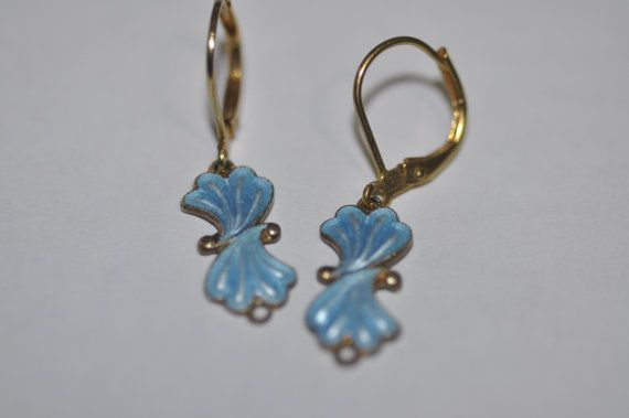 Art Deco Enamel Blue Earrings by finntastic2006 on Etsy