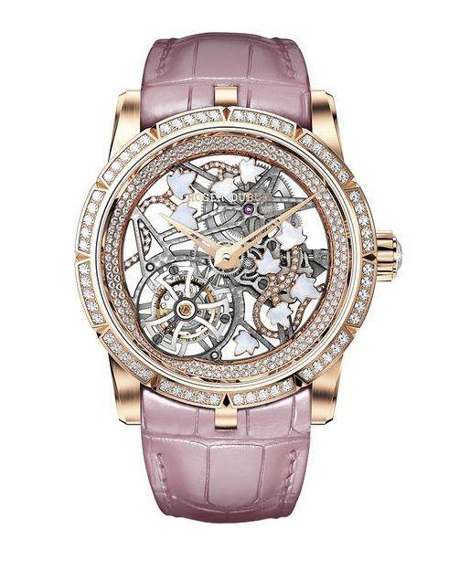 Часы Roger Dubuis RDDBEX0475 Excalibur Broceliande In Pink Gold - золотые - швейцарские женские наручные часы