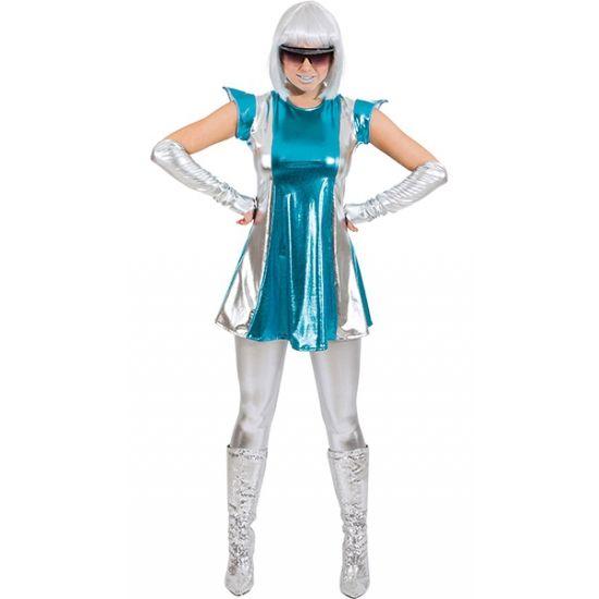 Space kostuum blauw/zilver voor dames. Dit space kostuum voor dames bestaat uit een blauw/zilver jurkje en twee zilveren armhoezen. Materiaal: 95% polyester en 5% spandex.