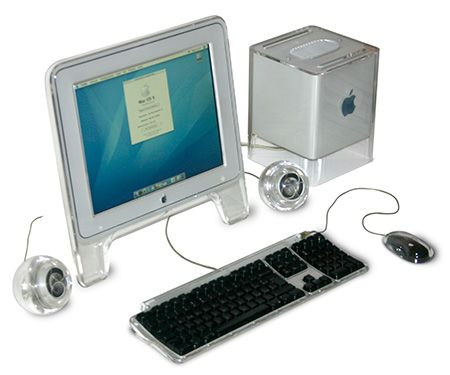 Power Mac G4 Cube, and accessories. Following my decision to start a vintage Apple computer collection, I received the G4 Cube along with all the accessories, including the display, two speakers, mouse and keyboard. It still runs OS 9.
