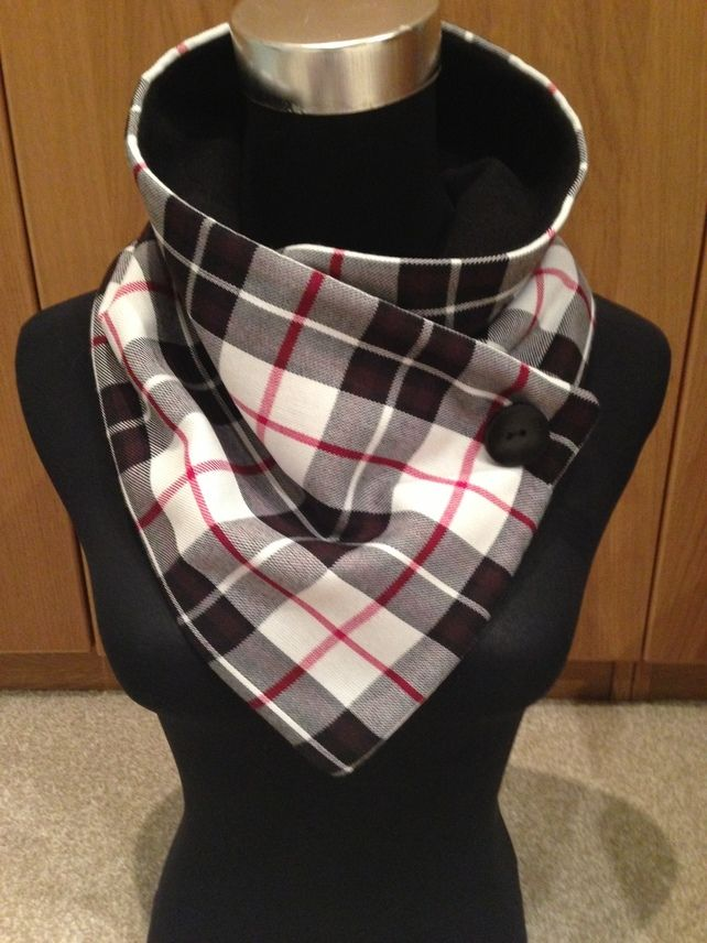 Black, off-White and red polyester, tartan scarf. £15.00