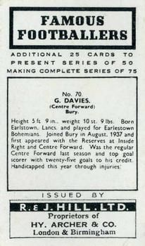1939 R & J Hill Famous Footballers Series 2 #70 George Davies Back