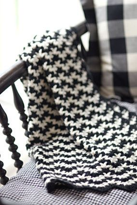 gorgeous modern crocheted blanket...now i need to crochet a black and white!