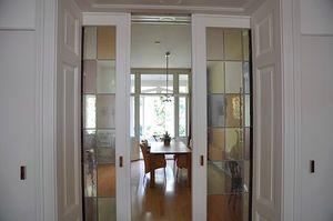Modern stain glass sliding doors
