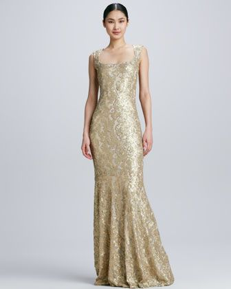 Sleeveless Gown with Lace Overlay by David Meister at Neiman Marcus.