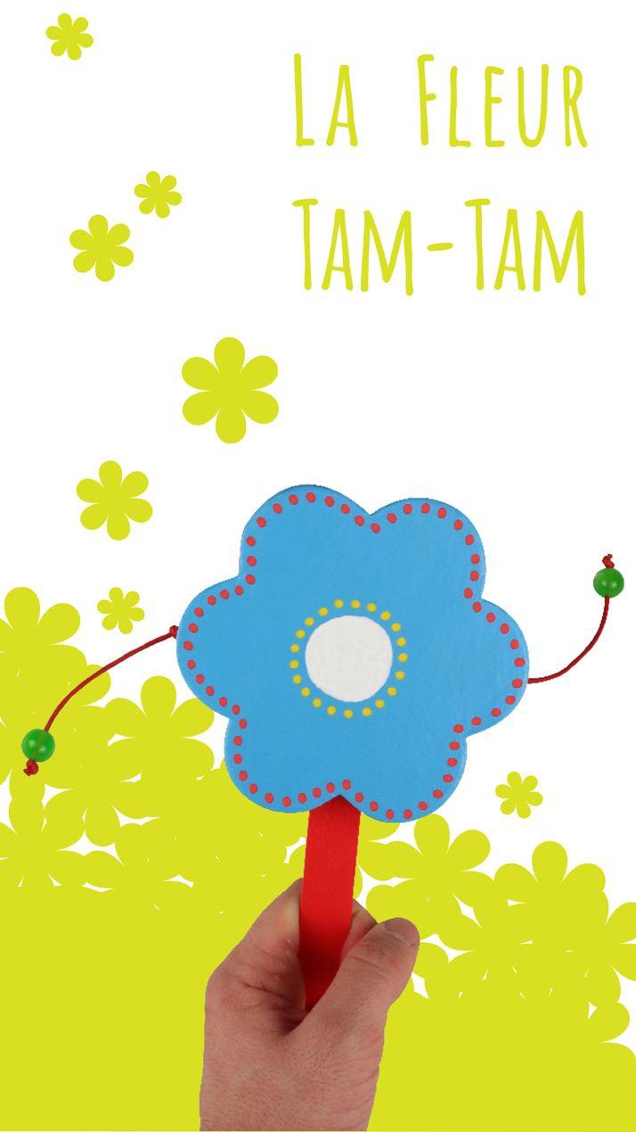 Fleur Tam-Tam Activité facile pour les enfants pour fabriquer un instrument de musique rigolo ! #bricolage #tambourin #tam-tam