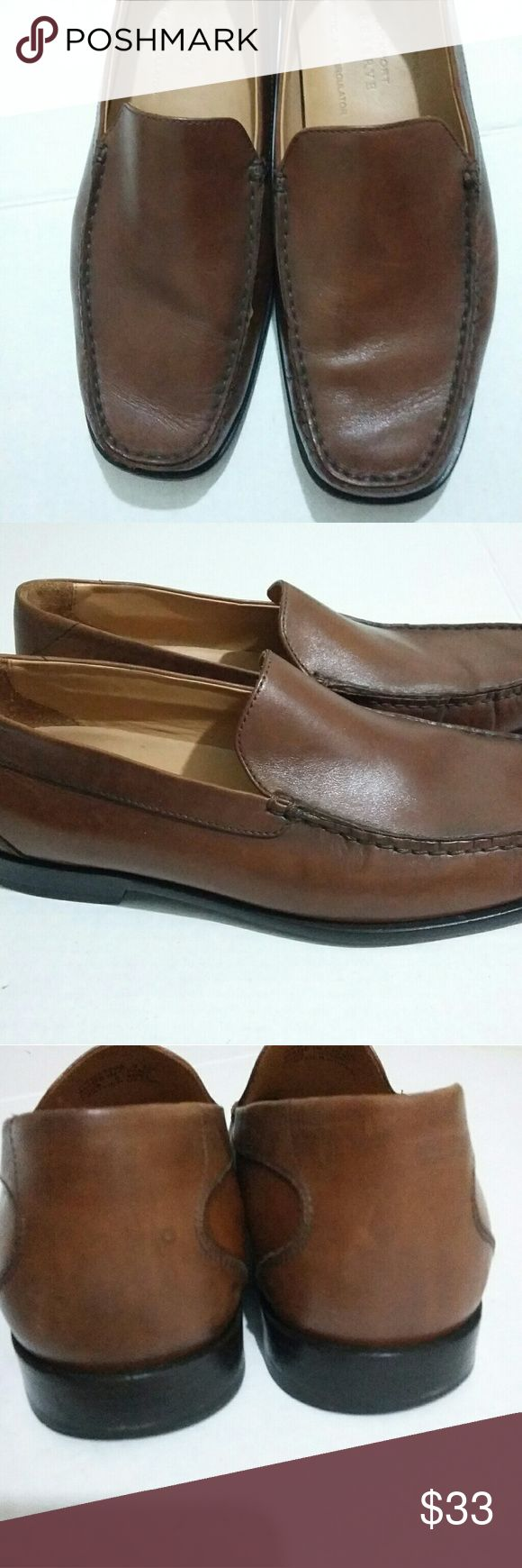 Rockport Reserve Mens Shoes Brown Loafers Size 9.5M Slip on shoes Leather upper Kinetic Air Circulation Shoes have minor scuffs A bit worn on the inside heel of left shoe Please pictures for these details Overall good condition Made in China Rockport Shoes Loafers & Slip-Ons