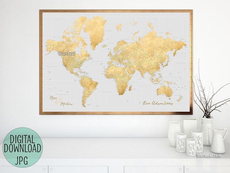 Custom quote - gold highly detailed world map printable with cities, capitals, countries, US States... labeled. #CustomMap #CustomColor #CustomDesignedPrintable #custom #ArtPrint #CustomPrintable #CustomArtwork #CustomMapPoster #CustomMapPrint #CustomArtPrint