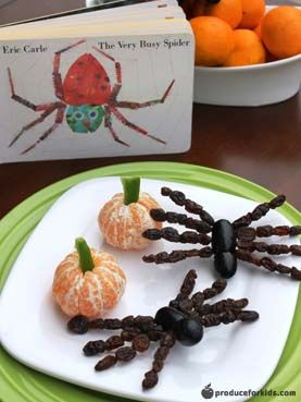 The Very Busy Spider Snack + Clementine Pumpkins