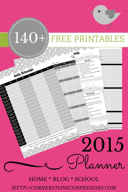 140+ 2015 Free Planner Printables created by Cornerstone Confessions