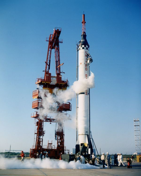 Redstone rocket, topped with a Mercury capsule - may be carrying astronaut Alan Shepard on America's first manned space flight, a suborbital mission in 1961