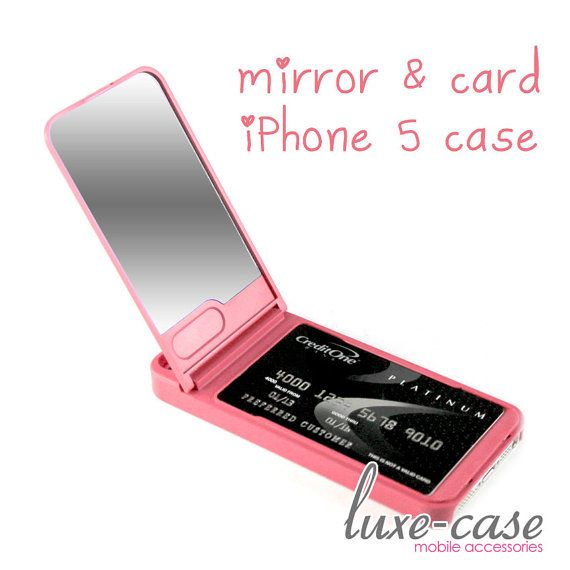 Stowaway Vanity Mirror iPhone 5S Case iPhone 5 Case in Coral Pink or Tiffany Blue on Etsy, $18.99