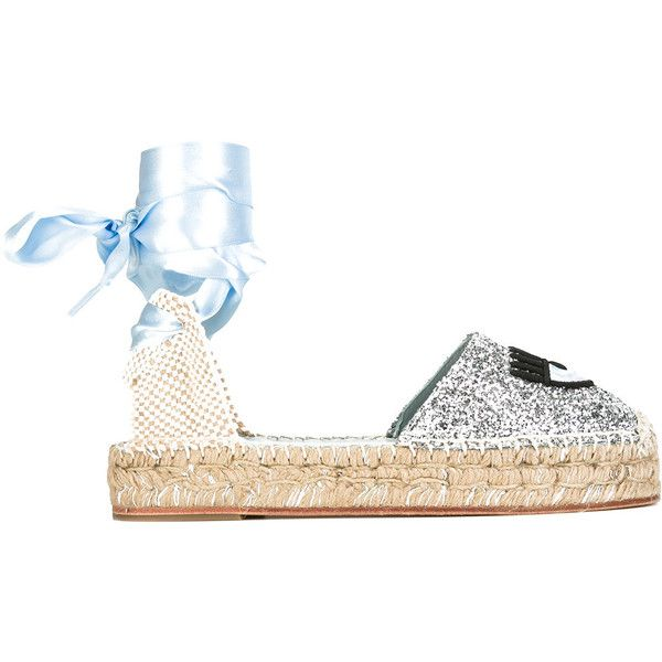 Chiara Ferragni #findmeinwonderland espadrilles (€310) ❤ liked on Polyvore featuring shoes, sandals, grey, chiara ferragni shoes, glitter sandals, chiara ferragni, grey sandals and espadrille sandals