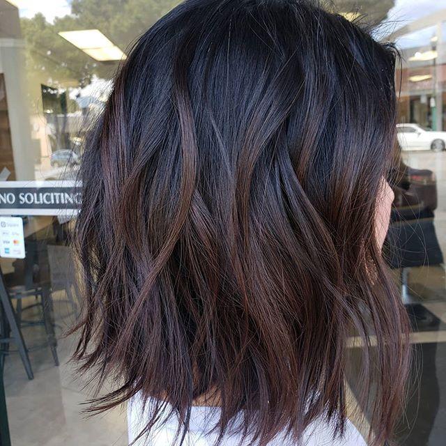 Brown Balayage With A Line Texture Bob Black Hair Balayage Brown Hair Balayage Short Hair Balayage