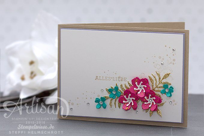 Glückwunschkarte - Stampin' Up! - Globald Design Project - Framelits Pflanzen Potpourri ❤︎ Stempelwiese