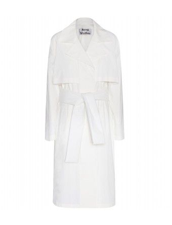 """Acne Studios' 'Friday Paper' trench coat will pull together even the simplest of looks with effortless style. Made from cotton, this pure white design looks fresh and contemporary in the brand's incomparably cool Swedish way. Knot the belt to define your silhouette."""