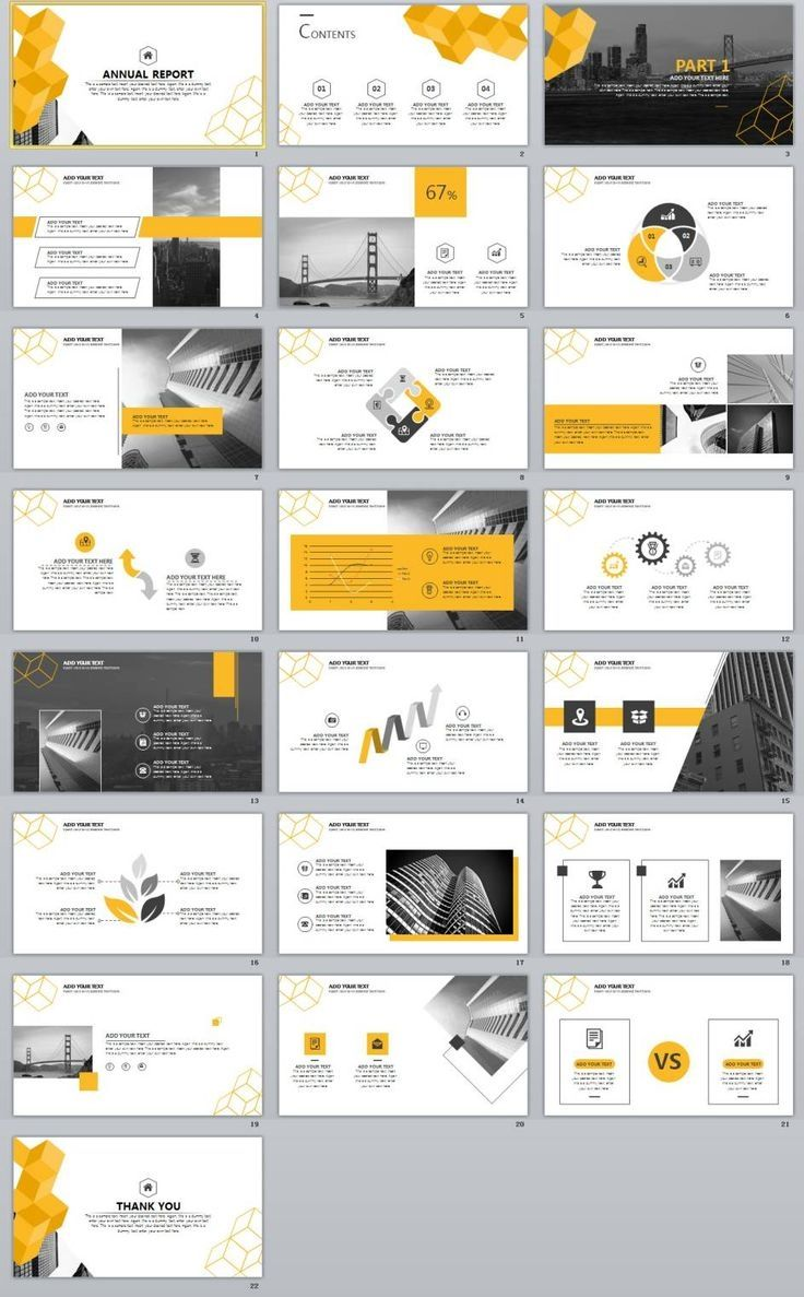22+ Best yellow annual report PowerPoint template   Resume