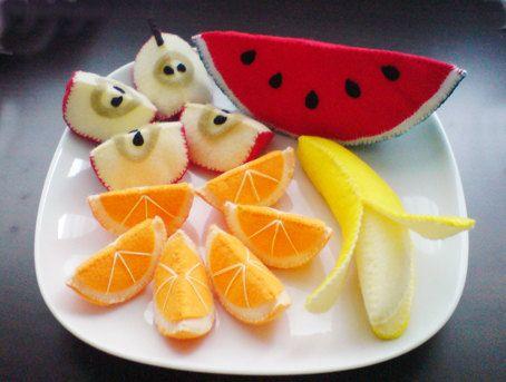 Felt Patterns - Fruits Slices Patterns Set - Apple, Orange, Banana, Watermelon (Felt Patterns and Tutorials via Email)