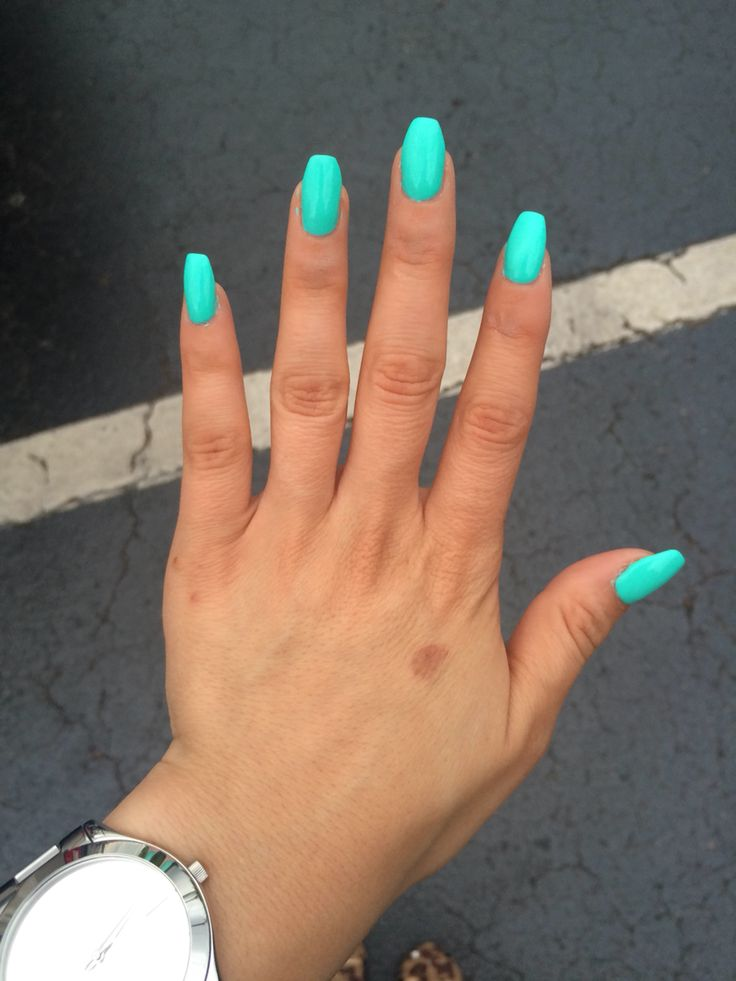 Teal coffin shaped nails