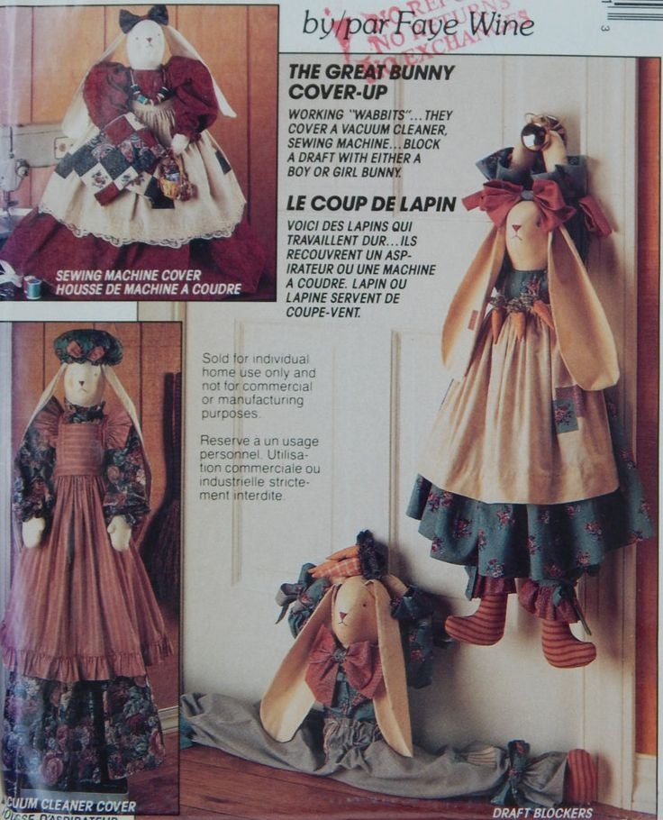 Bunny Sewing Pattern/McCall's Crafts 752/ 386 The Great Bunny Cover-Up by Faye Wine/sewing machine, draft dogger, vacuum, home decor/ Uncut by RedWickerBasket on Etsy