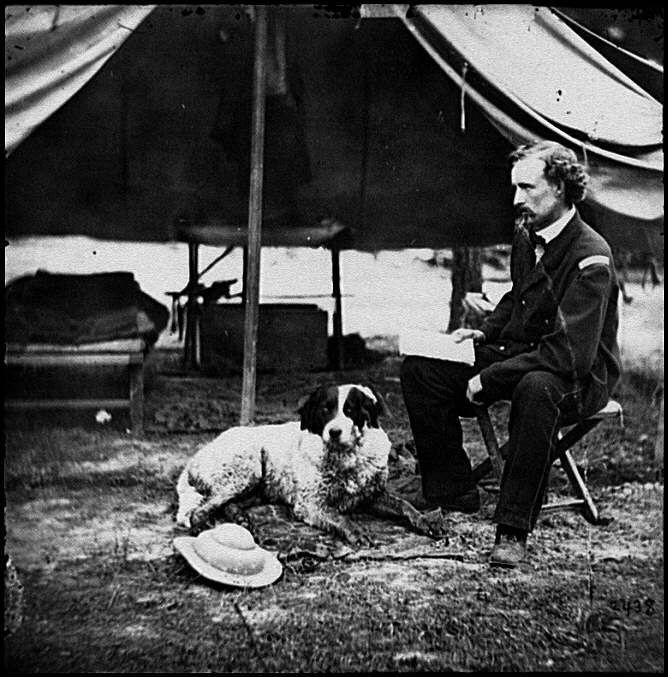 "General Custer and one of his dogs, soon to die at the Battle Of Little Big Horn, the Indians hated ""Golden Hair Custer"", but had reverential fear of him..."