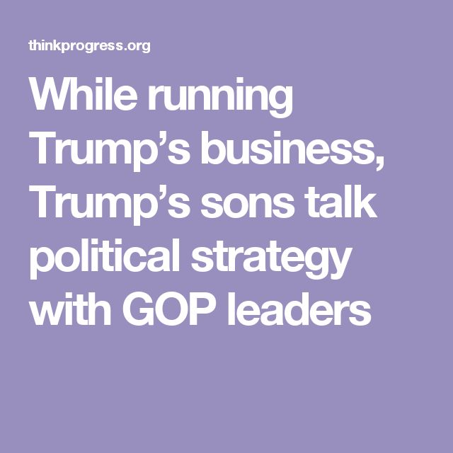 While running Trump's business, Trump's sons talk political strategy with GOP leaders