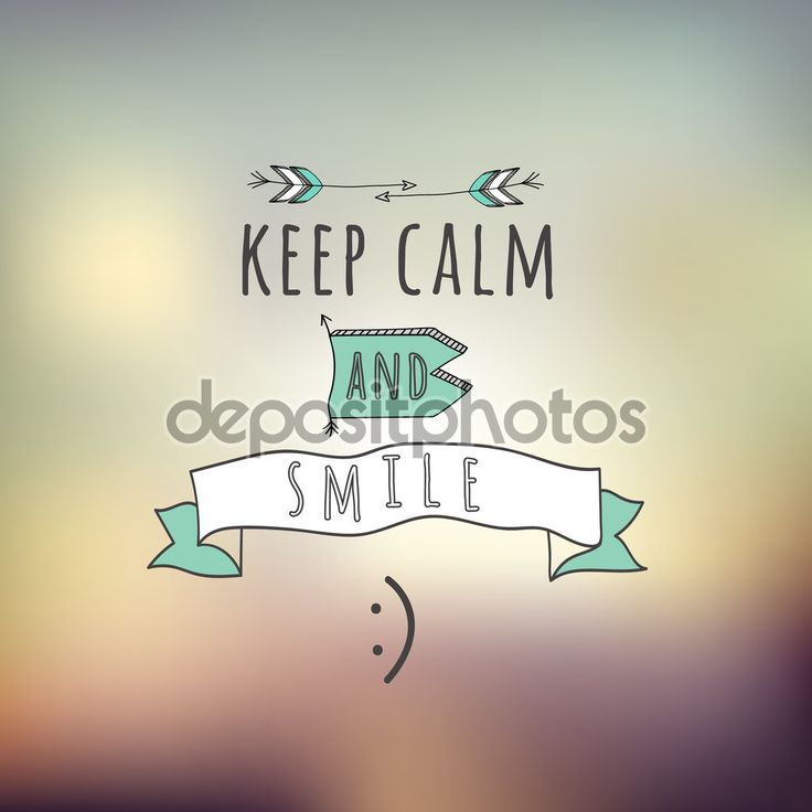 Quote Keep calm and smille - Стоковая иллюстрация: 69701241