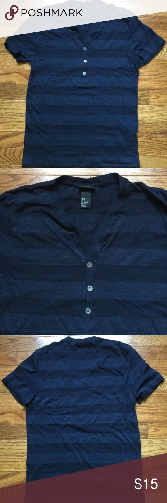 H&M mens navy blue shortsleeve henley size small H&M men's short sleeve Henley size small 3 button Navy Blue striped  74%cotton/26%modal  Smoke free H&M Shirts Tees - Short Sleeve