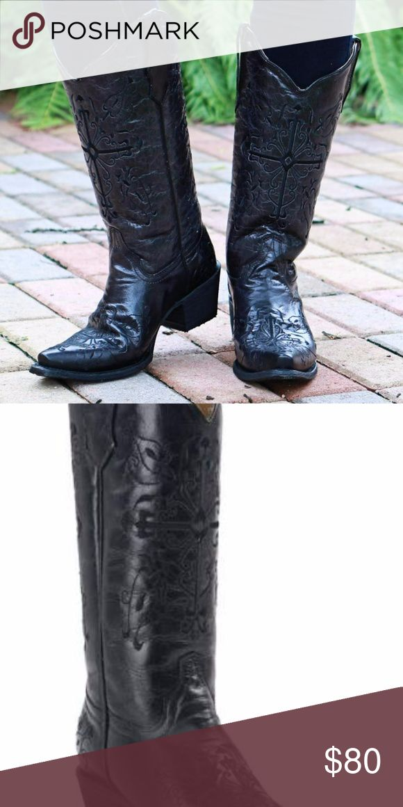 CORRAL WOMEN'S BLACK ON BLACK BOOTS *Will upload actual boot pics over this weekend*  Corral Boots are made by the finest leather craftsmen in the world in the heart of North American boot making, Leon, Mexico. Made with the finest exotic material, these black snip toe boots feature black cross embroidery design on upper, foot, and heel counter. Genuine leather lines the shaft, insole, and sole for comfort while rubber gripping on the heel provides stability. Get noticed in these uniquely…