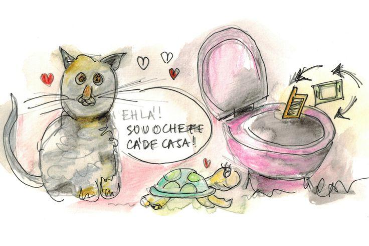 """Aqui há gato!: """"É verdade, ainda não te tinha contado…Temos um gato. O bichinho é amoroso, cinzento tigrado. Fomos buscá-lo a um abrigo, ninguém o queria porque já tem seis ou sete meses."""""""