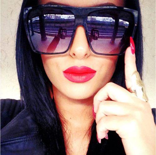 BLACK FLAT TOP SUNGLASSES women oversized xl xxl large huge big square lauren #SunglassArmy #Wrap