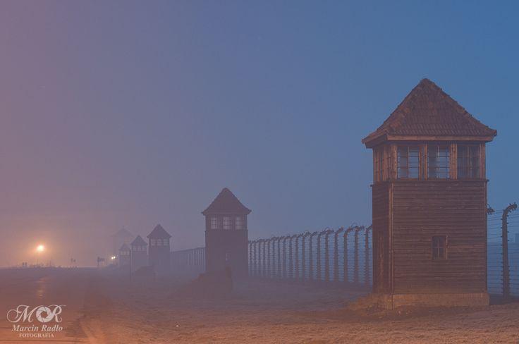 Fence line and watchtowers of the Auschwitz II-Birkenau BII sector.   ---  by Marcin Radło on 500px