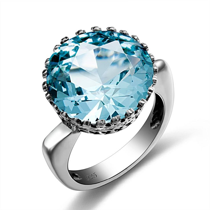 Russian Brand Jewelry 5.6ct Sky Blue Wedding Crown Crystal Ring Real 925 Sterling Silver Knuckle Women Vintage Engagement Rings