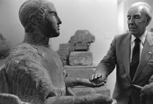 Jorge Luis Borges visiting the Galleria Nazionale, Palermo (Italy), March 1984 -by Ferdinando Scianna    Sculptures are bodies among bodies, outer outlines which men's invention drops among others populating space and whose image, according to idealism, may be space itself.Oddly enough its material character emphasizes its fantastic character. Each statue is a Golem.— Jorge Luis Borges, from a conversation with Daniele Crippa [full text]    photo from magnum