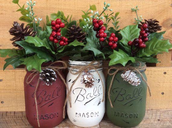Painted Mason Jars. Christmas Decor. Vase. by WineCountryAccents