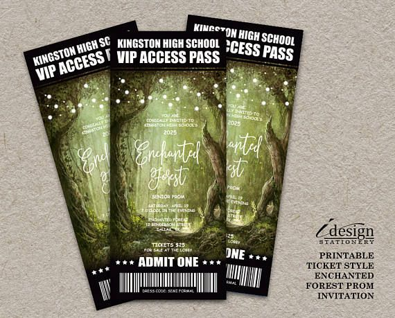 Enchanted Forest Prom Ticket Invitations With String Lights