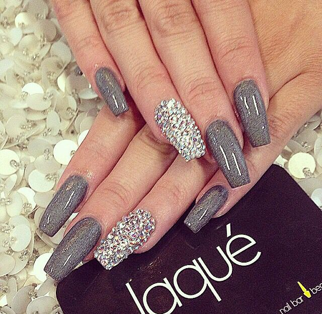 Dope Nails Grey Sparkle Silver Diamond Gem Laque Style Hot