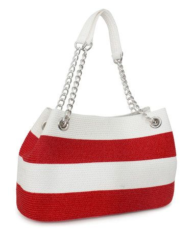 Another great find on #zulily! Red & White Stripe Shoulder Bag #zulilyfinds