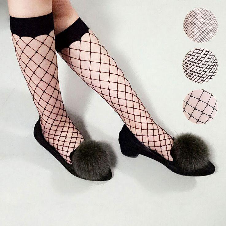 Women Mesh Lace Fish Net Long Socks Glitzy Transparent Socks Fishnet High Socks #Affiliate