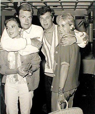 Natalie Wood with husband Robert Wagner next to Tony Curtis and wife Janet Leigh.