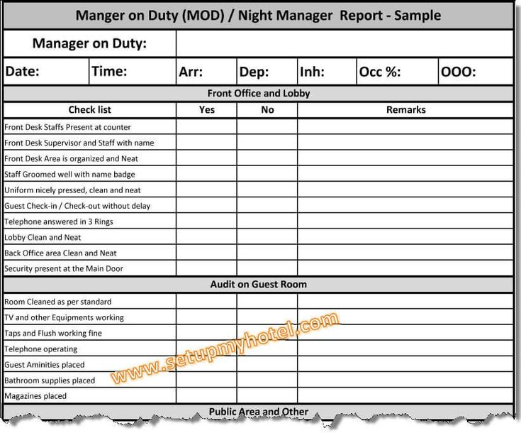 Manager on Duty Report  Hotel MOD Report Sample  Night